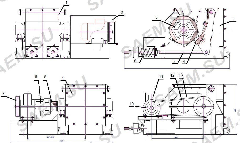 Схема дробилки ДО-1М(Р)